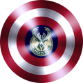 captain american shield with milwaukee bucks logo iron on transfer