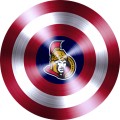 captain american shield with ottawa senators logo decal sticker