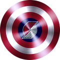 captain american shield with portland trail blazers logo iron on transfer