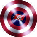captain american shield with tampa bay buccaneers logo iron on transfer