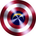 captain american shield with los angeles chargers logo iron on transfer