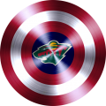 captain american shield with minnesota wild logo decal sticker