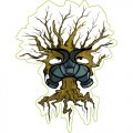 Tree wearing gas mask DIY iron on stickers (heat transfer)