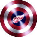 captain american shield with detroit red wings logo decal sticker