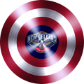 captain american shield with new orleans pelicans logo iron on transfer