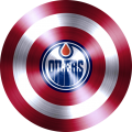 captain american shield with edmonton oilers logo decal sticker
