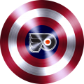 captain american shield with philadelphia flyers logo decal sticker