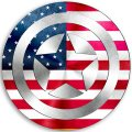 CAPTAIN AMERICA UNITED STATES OF AMERICA Flag iron on transfer